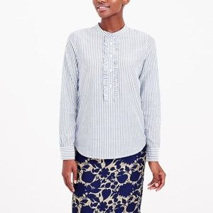 J.Crew Factory ruffle front popover shirt L